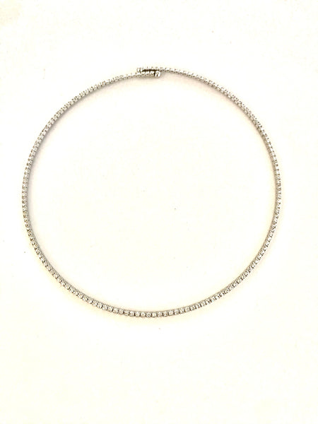Choker Faux Diamond Silver Crystal