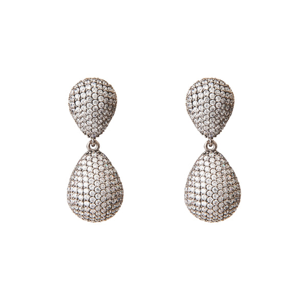 Pave Crystal Teardrop Earrings Sand