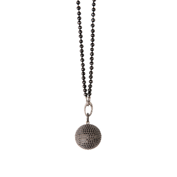 Black Spinal Ball Pendant Pave Diamond Clasp