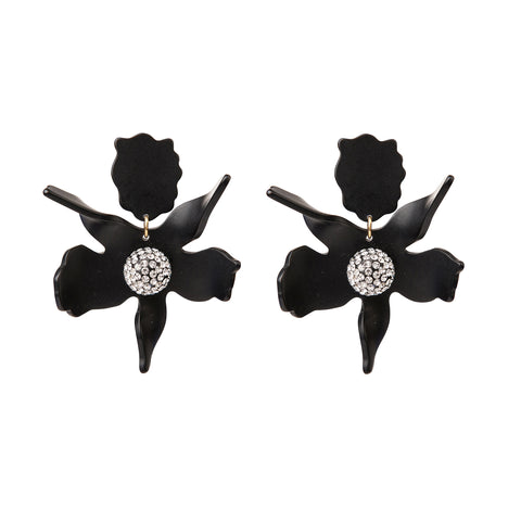 Lily Crystal Earrings Black