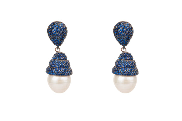 Beehive Blue Pave Baroque Pearl Earrings