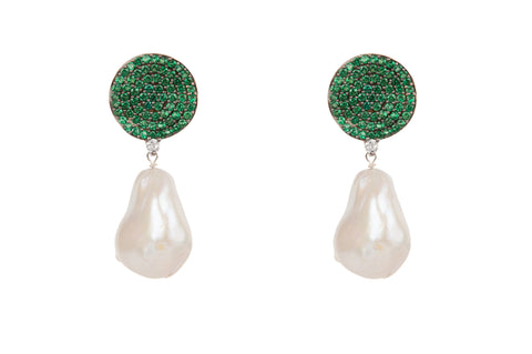 Baroque Pearl Earrings Green Pave Crystal