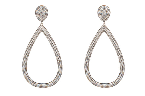 Open Teardrop Clear Pave Crystal Earrings