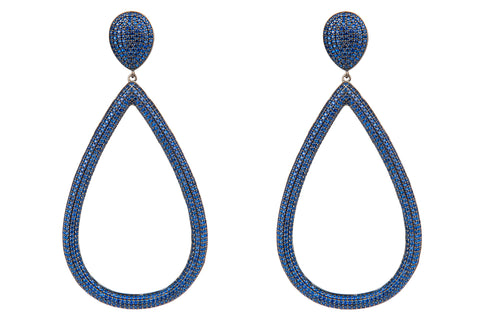Open Teardrop Pave Crystal Earrings Blue