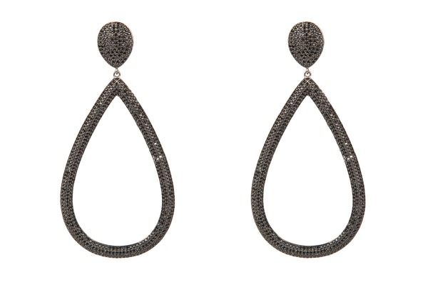 Open Teardrop Pave Crystal Earrings Black