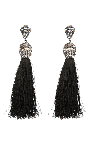 Tassel Earrings Black Fringe