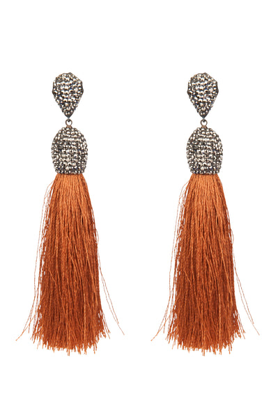 Tassel Earrings Copper Fringe