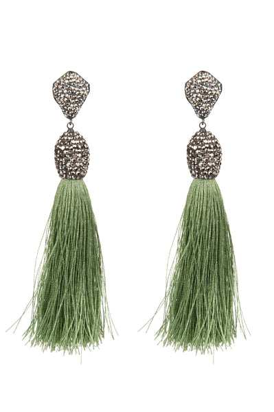 Tassel Earrings Green Fringe
