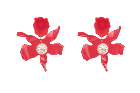 Lily Flower Earrings Red