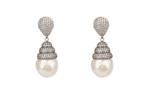 Beehive Clear Pave Baroque Pearl Earrings