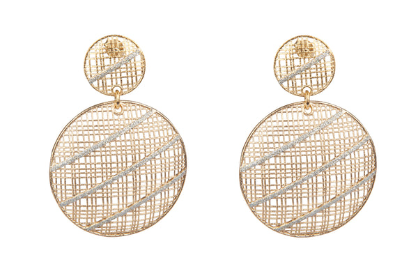 Wire Mesh Gold Earrings
