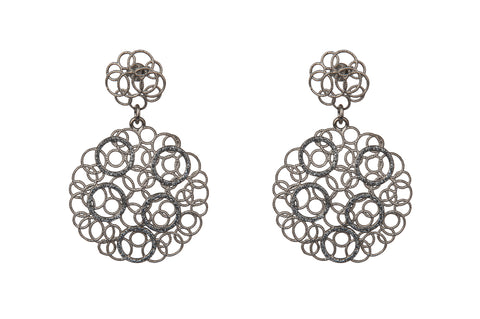 Lace Filigree Dark Rhodium Earrings
