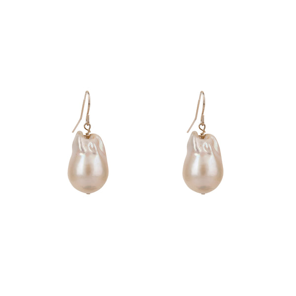 Baroque Pearl Gold Wire Earrings