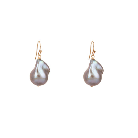 Grey Baroque Pearl Earrings on French Wire