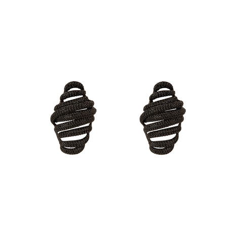 Swirl Pave Crystal Earrings Black