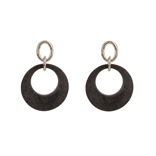Horn Earrings Matte Grey Silver