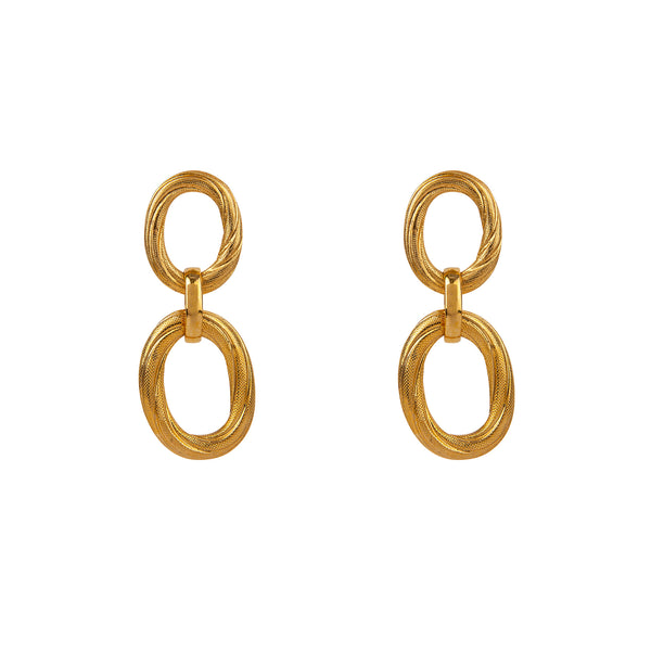 Double Hoop Gold Earring
