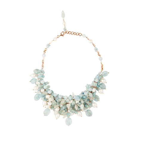 Aquamarine Cluster Necklace