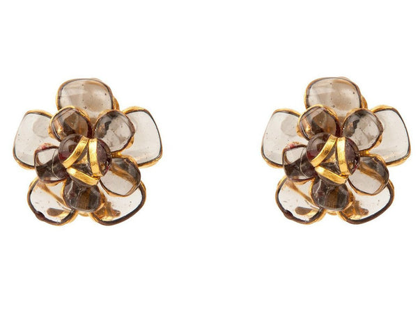 Flower Clip Earring in Smoky Topaz Colored Poured Glass