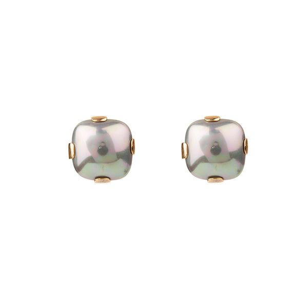 Square Grey Shell Pearl Clip Earring