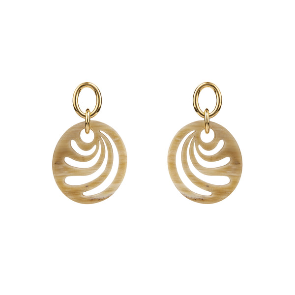 Open Gold Link Buffalo Hound Oval Earrings