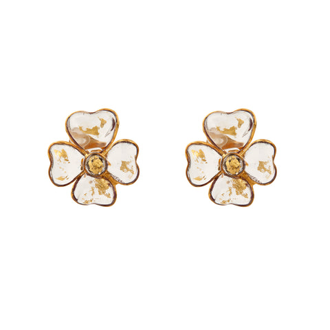 Clear Poured Glass Flower  Earrings with gold flecks by Francoise Montague Paris