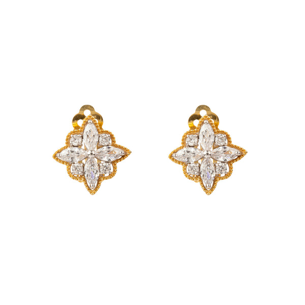 Gold and Crystal Flower Small Earring