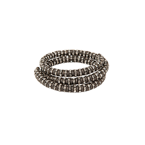 Black Crystal Memory Wrap Bracelet - Francoise Montague Paris