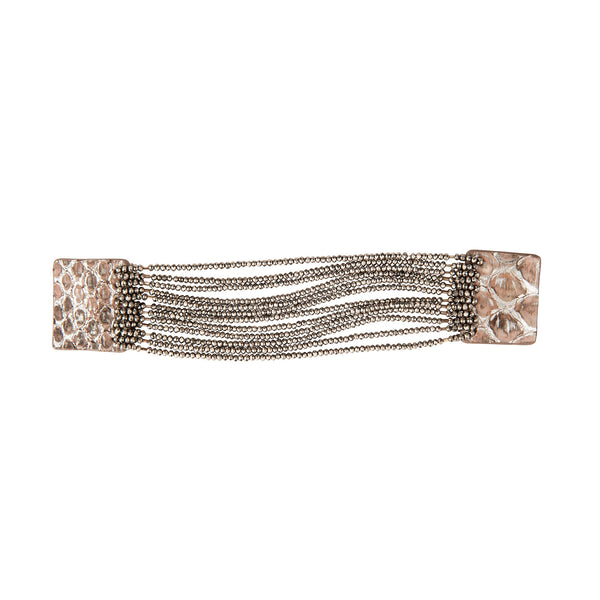 Multi Strand Beaded Magnetic Leather Cuff