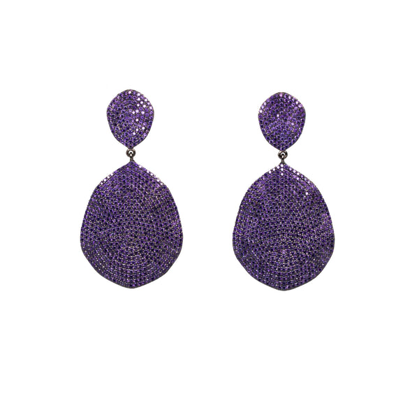 Wave Purple Teardrop  Earrings