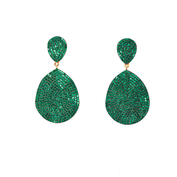 Wave Green Teardrop Earrings