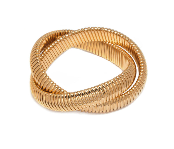 Double Gold Ribbed Bracelet