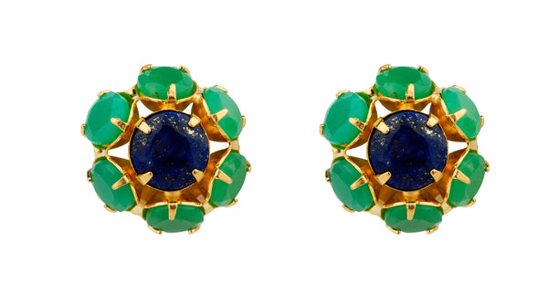 Chrysoprase & Lapis Flower Earrings