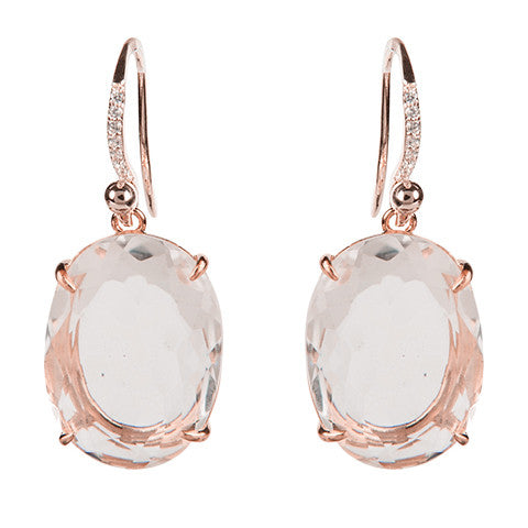 Oval Clear Quartz Earrings