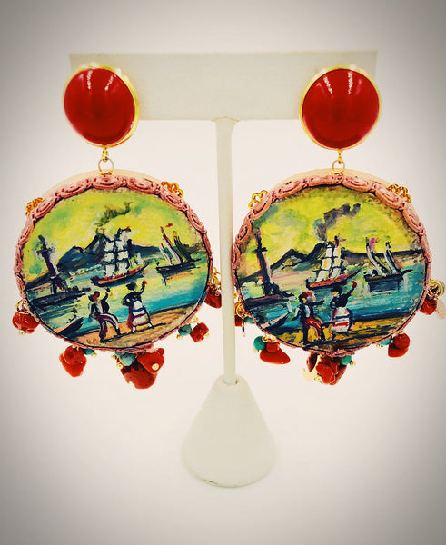 Tambourine Earrings - hand painted in Italy