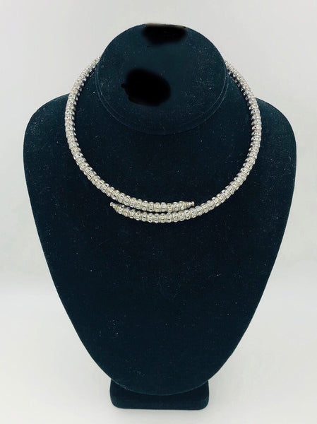 French Crystal Memory Wire Necklace
