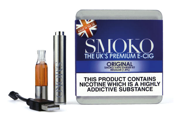 A vape starter kit with an electronic cigarette rechargeable battery, 1 vape flavour pod, 1 usb e-cigarette charging cable and a designer metal case