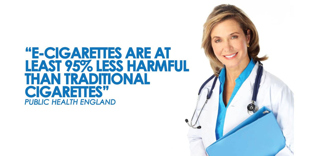 """Public Health England states that """"e-cigarettes are at least 95% less harmful than traditional cigarettes"""""""