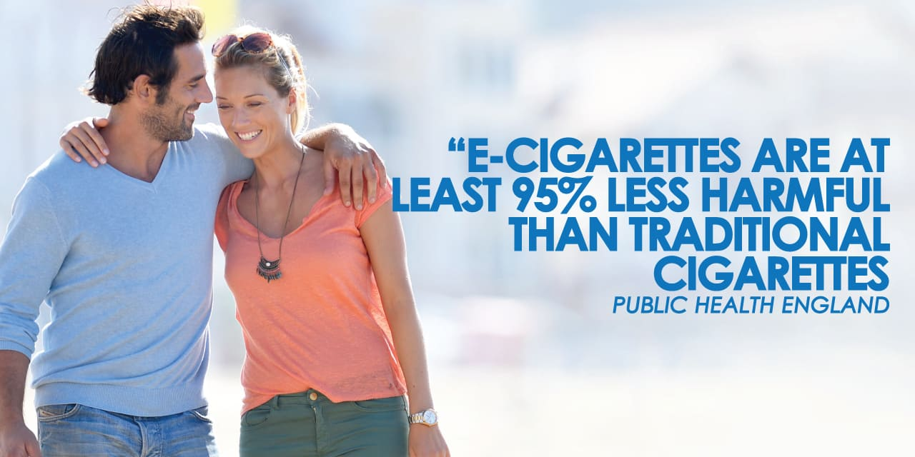 "Public Health England claim that ""e-cigarettes are at least 95% less harmful than traditional cigarettes"""