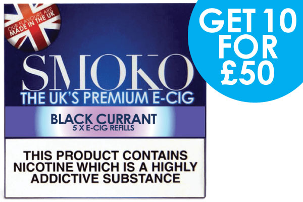 STOCK CLEAR OUT DEAL - 10 packs of BLACK CURRANT e-cigarette cigalike refills + 1 accessory deal for £50 - UK Customers only