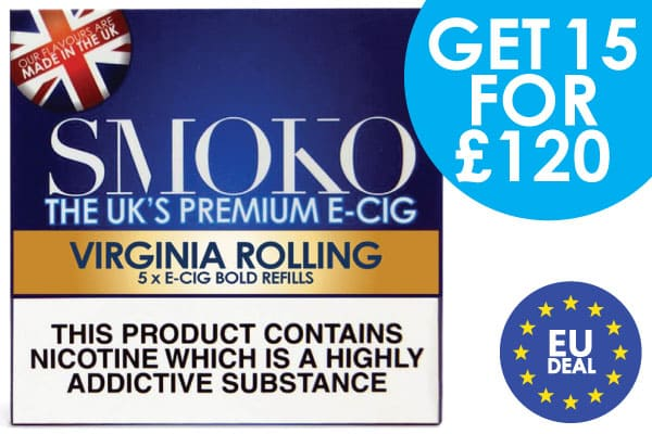 15 packs of e-cigarette cigalike refills + 1 Accessory for £120