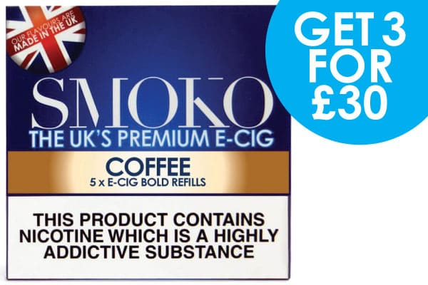 3 packs of e-cigarette cigalike refills + free uk delivery for £30