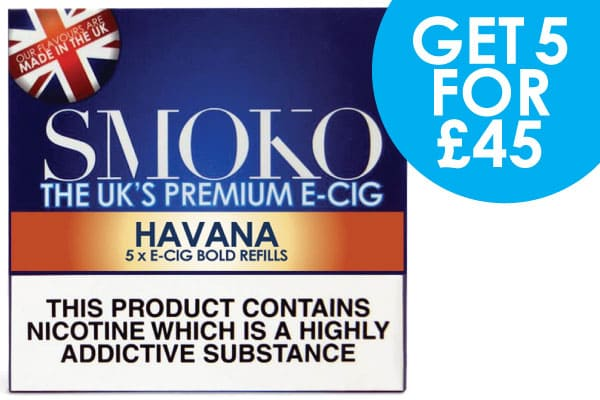 5 packs of e-cigarette cigalike refills + FREE UK delivery for £45