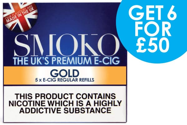 6 Packs of SMOKO E-Cigarette cigalike refills + free UK delivery for £50