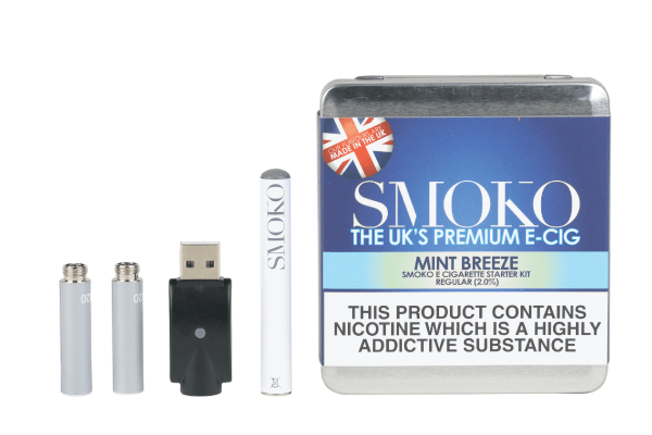 an e-cigarette starter kit with an electronic cigarette rechargeable battery, 2 e-cig flavour cartridges, 1 usb e-cigarette charger and a designer metal case