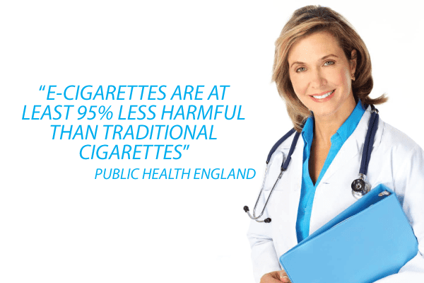 according to Public Health England, e-cigarettes are at least 95% less harmful than traditional cigarettes