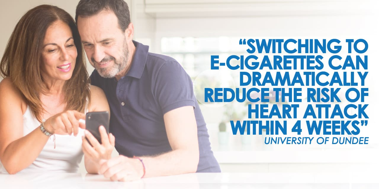 switching to e-cigarettes can dramatically reduce the risk of heart attack within 4 weeks according to a University of Dundee study