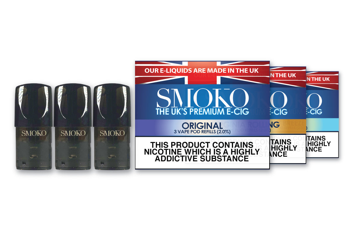 Original tobacco flavoured Vape Pod Refills from SMOKO E-Cigarettes uses e-liquids that are Made in the UK