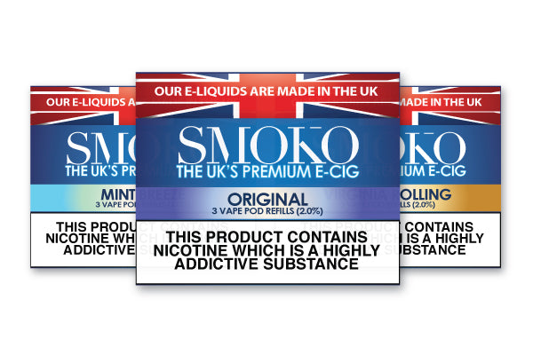 Original tobacco, Virginia Rolling and Mint Breeze flavoured vape pod refills from SMOKO E-Cigarettes and CBD