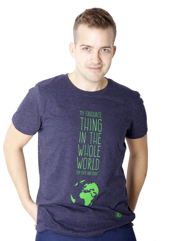 Fair-trade t-shirt promoting ecology. Made from 100% recycled material. Navy blue t-shirt with the Earth.